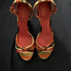 Coach Bethanee Rainbow Strappy Wedges